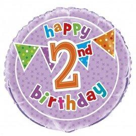 Foil Balloon - Happy 2nd Birthday - 18''