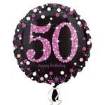 "Foil Balloon - Pink 50th Birthday Sparkle - 18"""