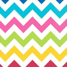 Napkins-BEV-Rainbow Colours Chevron-16pk-2ply