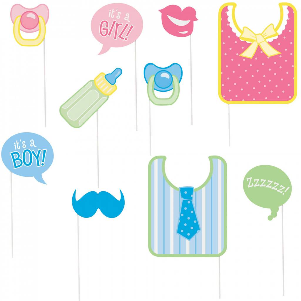 Photo Booth Props Baby Shower 10pc Victoria Party Store