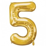 "Foil Balloon - Gold # 5 - 34"""