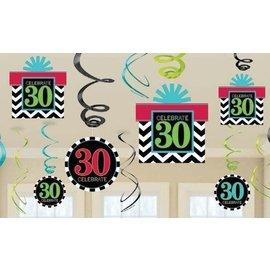Swirl Decorations 30th Birthday-30pk