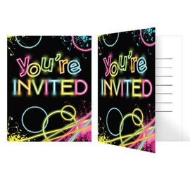"Invitations-Glow Party-8pkg-5""x4"""