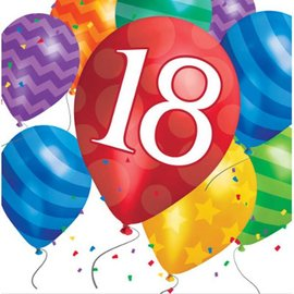 Luncheon Napkins-18th Balloon Birthday-Discontinued