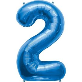 "Foil Balloon-Supershape-Number ""2""-Royal Blue"
