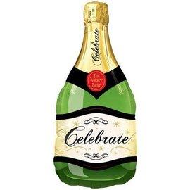 "Foil Balloon - Customizable - Celebrate Champagne Bottle- 39"""