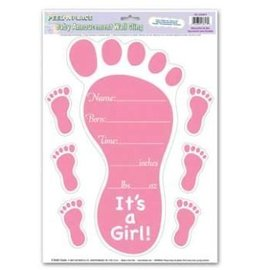 Wall Cling-It's a Girl Birth Announcement-1pkg-17""