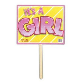 "Yard Sign-Cardstock-It's A Girl-1pkg-12""x15"""