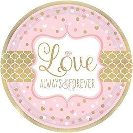 Plates-Bev-Sparkling Wedding-8pk-Paper (Discontinued)