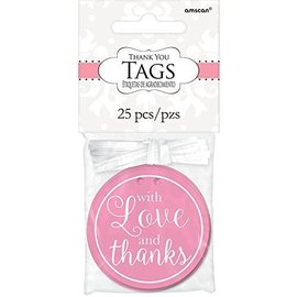 Tags-With Love And Thanks-New Pink-25pk-2''