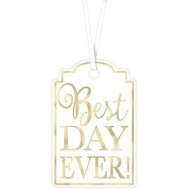 Tags-Best Day Ever-White and Gold-25Pk/2''X3""