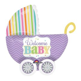 "Foil Balloon - Welcome Baby Carriage - 32""x30"""