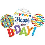 """Foil Balloon - Colorful Happy B-Day - 56""""x36"""""""