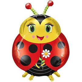 Foil Balloon-Supershape-Cute Ladybug with Flower