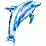 Foil Balloon-Supershape-Blue Dolphin