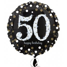 Foil Balloon - 50th Birthday Sparkle - 18""