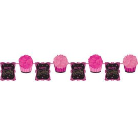 Fluffy Garland-Fabulous Happy Birthday-1pkg-12ft
