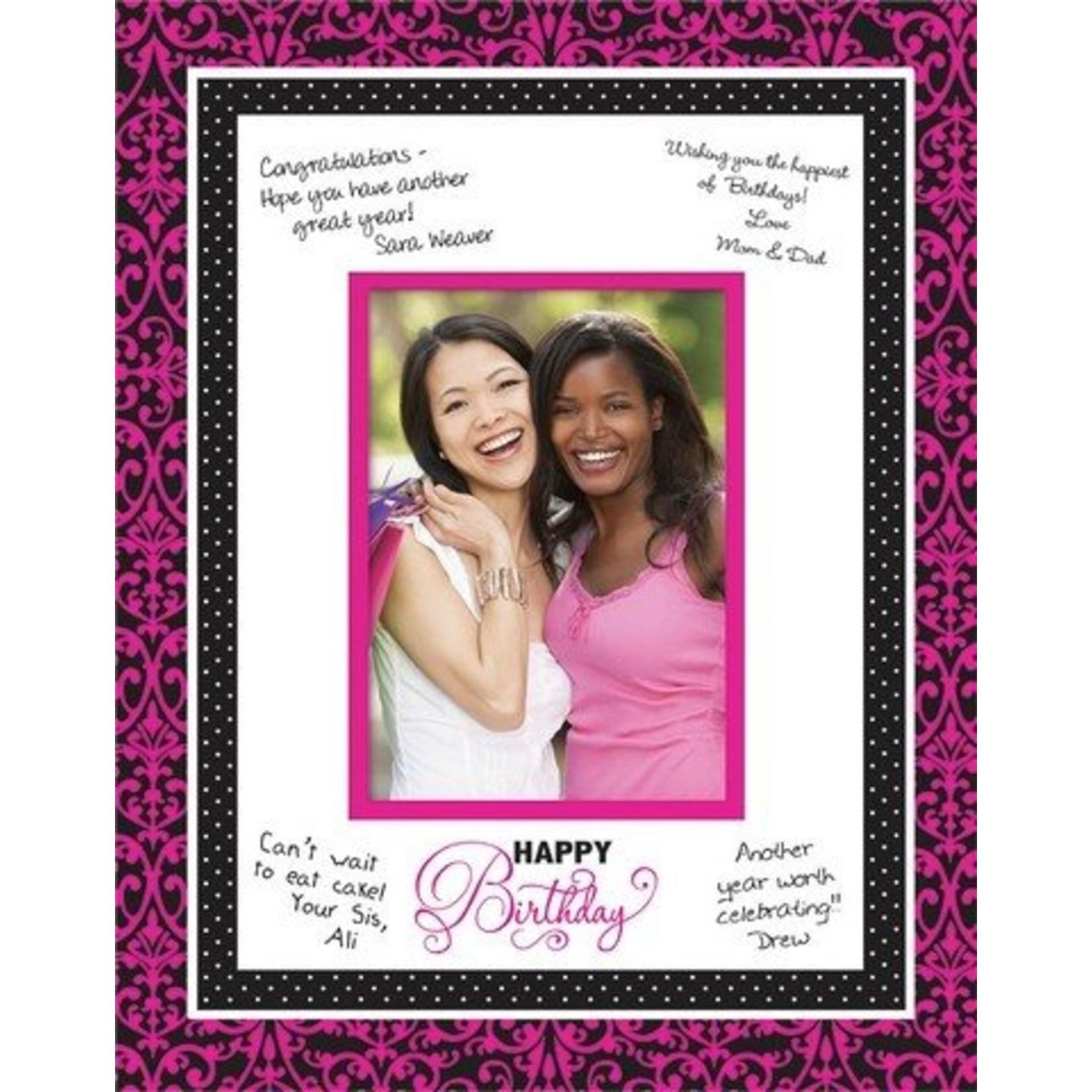 "Autograph Matte-Pink & Black Birthday-1pkg-11""x14"""