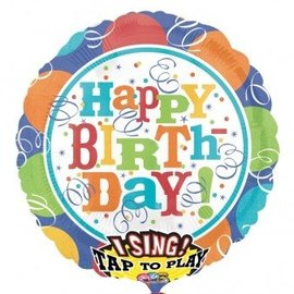 """Foil Balloon- Singing - Colorful Happy Birthday - 28"""""""