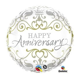 Foil Balloon - Elegant Happy Anniversary - 18""