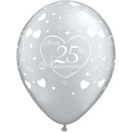 Latex Balloon-25th Anniversary Little Hearts Silver-1pkg-11""