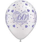"Latex Balloon-60th Anniversary Little Hearts Pearl White-1pkg-11"""