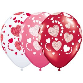 """Latex Balloon-Etched Hearts A Round Assortment-1pkg-11"""""""