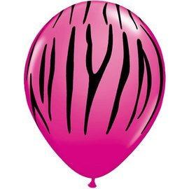 Latex Balloon-Zebra Stripes Wild Berry-1pkg-11""