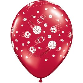 Latex Balloon-Sport Balls A Round Assortment-1pkg-11""