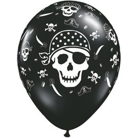 Latex Balloon-Pirate Skull & Cross Bones-1pkg-11""