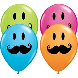 Latex Balloon-Smile Face Mustache Assortment-1pkg-11""