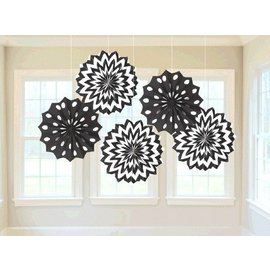 "Paper Fan - Jet Black - 8"" - 5pc"