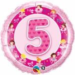 "Foil Balloon-5th Pink Ballerina 18"""