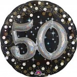 Foil Balloon-3D Supershape-50th Birthday-Black and Gold
