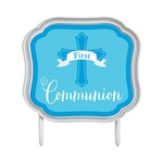 Cake Topper - First Communion (Blue)-4.5''x5.1''