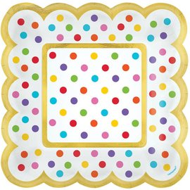 Scalloped Paper Plates-Rainbow Colours Dots