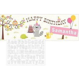 Banner - Happi woodland Pink-Add Name