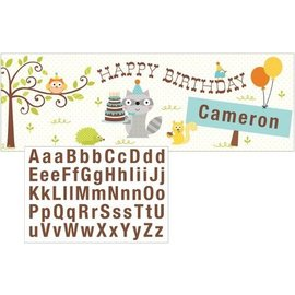 Giant Party Banner - Happi woodland-Add Name-Blue-60''x20''