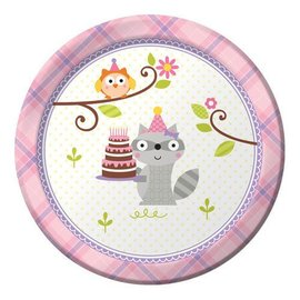 Plates-Bev-Happi woodland-Girl-8pk-Paper