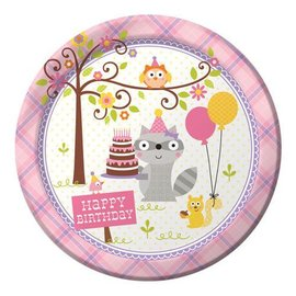 """Luncheon Paper Plates-Happi Woodland-Pink-8pk-9"""""""