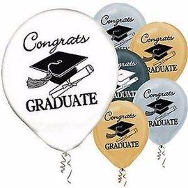"15 Helium Quality Balloons - 12"" Round - Congrats Grad"