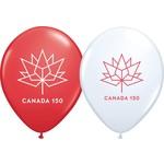 "Latex Balloons - Canada 150 -11"" - W/H"