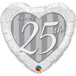 "Foil Balloon - Happy 25th - SIlver Heart - 18"""