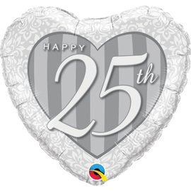 Foil Balloon - Happy 25th - SIlver Heart - 18""