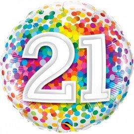 """Foil Balloon - 21 Condetti - 18"""""""