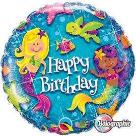Foil Balloon - Happy Birthday - Mermaid and Fishes - 18""
