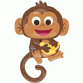 Foil Balloon-Supershape - Cartoon Monkey with Bananas