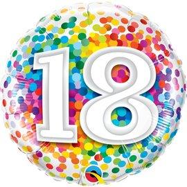 "Foil Balloon - ""18"" Rainbow Confetti - 18''"
