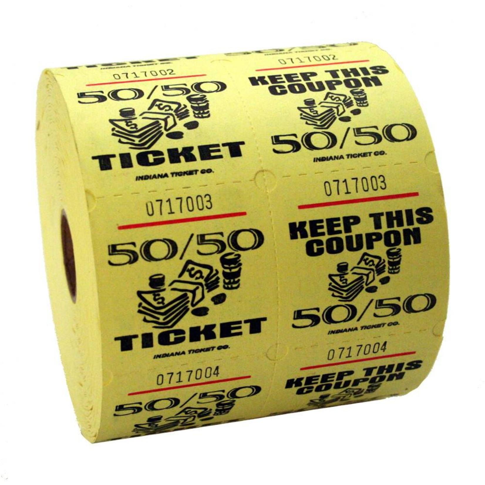 Raffle Tickets-50/50 Rolls-Yellow-1000pk