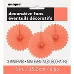 Mini Fans - Coral-6''-3pcs